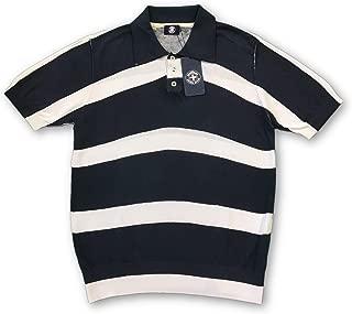 Swiss Cross short sleeved polo navy/white stripe - M
