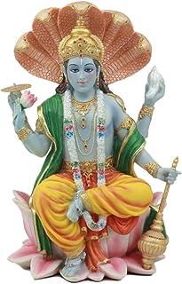 Ebros Hindu God Vishnu Vasudeva Sitting On Throne Of Cobras Statue Preserver and Protector Blue Avatar Figurine Eastern En...