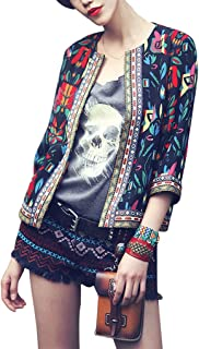 Buenos Ninos Women's 3/4 Sleeve Ethnic Cardigan Printed Flyaway Jacket Coat