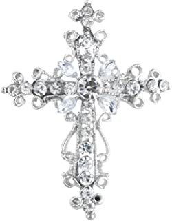 Xmas Christmas Holiday Silver Tone Cross Silver Crystal Rhinestones Brooch Pins