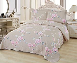 Sapphire Home 3 Piece King Size Quilt Bedspread Coverlet Bedding Set w/2 Pillow Shams, Soft Pre-Washed Bed Cover, Floral Pattern, Champagne Pink, King 6617 McKenna