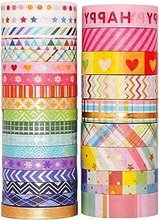 YUBX Or Washi Tape Set 27 Rouleaux Masking Tape Ruban adhesif decoratif pour Scrapbooking Artisanat de Bricolage 8MM/15MM ...