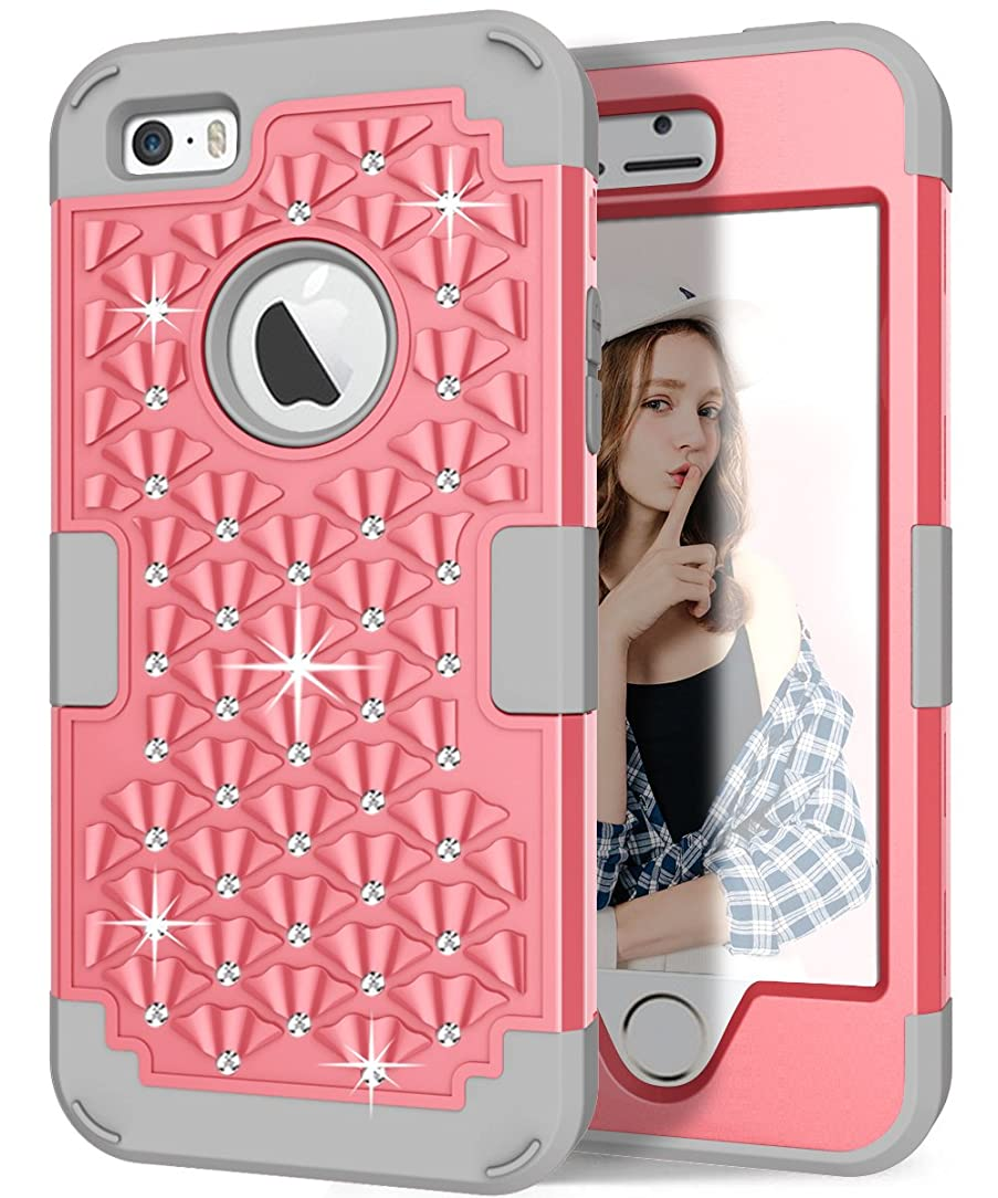 Hocase iPhone 5s Cute Case with Sparkly Glitter Bling Rhinestones Hybrid Dual Layer Protective Hard Back Cover+Silicone Bumper for Apple iPhone 5/5s/SE - Light Pink / Grey