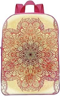 Red Mandala Durable Backpack,Magical Spiritual Hand Drawn Bloom,for Team Work