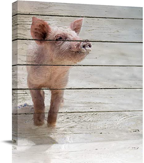 Amazon Com Pig Farm Animal Oil Painting Canvas Vintage Wooden Plank Framed Picture On Wall Art For Living Room Bedroom Dinning Room Home Decoration Ready To Hang 16x16 Inch Paintings