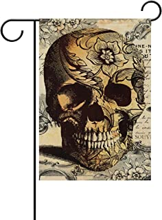 SWADAZA Floral Skull Polyester Double-Sided House Flag Home Decorative 28