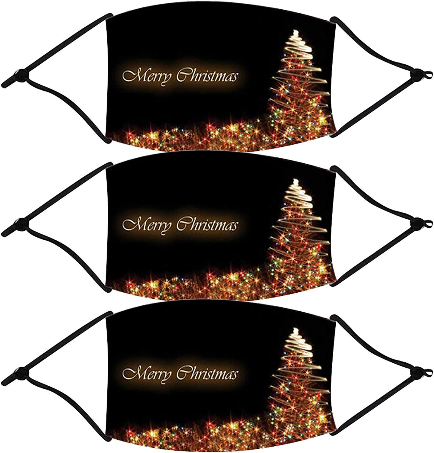 Merry Christmas and Happy New Year Men's and Women's Mouth Face Bandana Breathable Filter Dust Washable Neck Gaiter