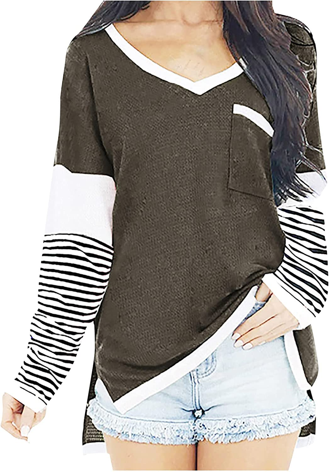 Women's Loose V-Neck T-Shirts Casual Stripe Splicing Blouses Tops Long Sleeve Knitted Bottoming Tunic