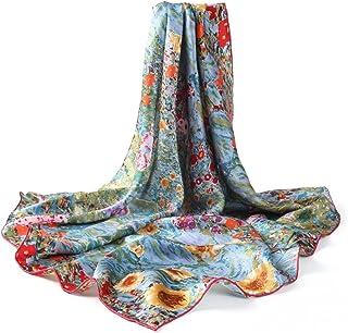 prettystern seta Donna Foulard con stampa Arte Nouveau Gustav Klimt 90cm Quadrato