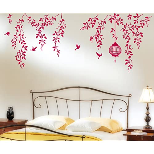 Decals Design 'Hanging Vines with Cage and Birds' Wall Sticker (PVC Vinyl, 70 cm x 50 cm)