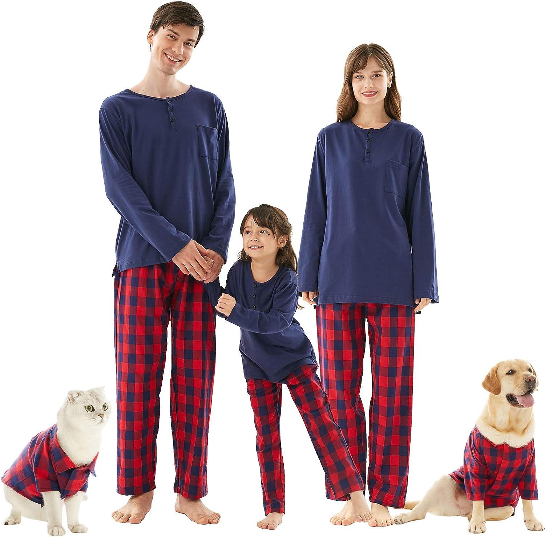 Buffalo Plaid 2-Piece Holiday Matching Long Sleeve Pjs Jammies Sleepwear for Couples Kids Pets Family Christmas Pajamas Set