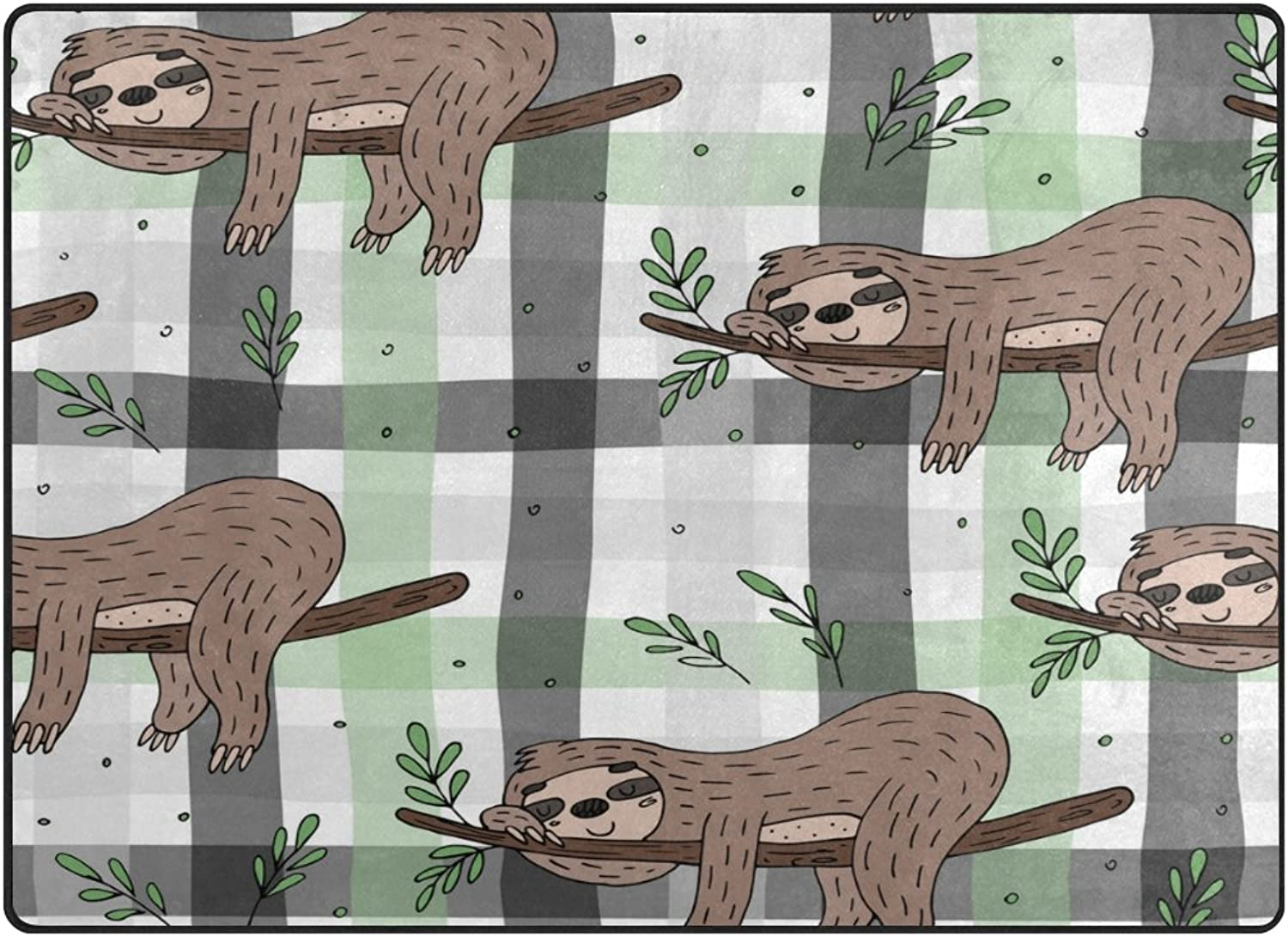 SUABO 80 x 58 inches Area Rug Non-Slip Floor Mat Doodle Sloth Printed Doormats for Living Room Bedroom