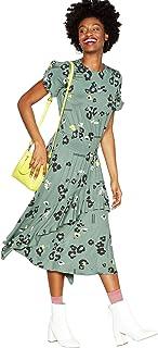 0c6f26044ca5 Studio by Preen Womens Khaki Animal Print Jersey Midi Dress