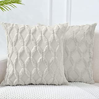 LHKIS Throw Pillow Covers 18x18, White Decorative Boho Pillow Case Cushion Cover with Velvet Luxury Soft Plush Short Wool ...