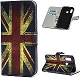F�r Samsung Galaxy A40 H�lle Lader Tasche PU Lader H�lle Gemalt Muster Flip Brieftasche Kartenhalter Magnetschnalle St�nder Sto�fest Kratzfest Sto�stange Handyh�lle Britische Flagge