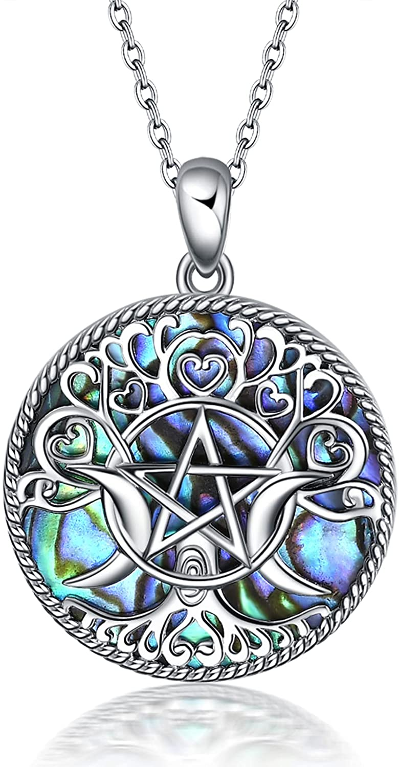 YFN Triple Moon Goddess Necklace low-pricing Silver Cheap super special price Penta Sterling Pentagram