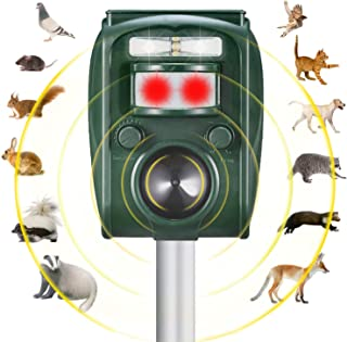 Solar Powered Animal Repeller|Waterproof Outdoor Repeller with Ultrasonic Sound,LED Flashing Light and Motion Sensor |for Cats Dogs Squirrels Racoon Groundhog Skunk