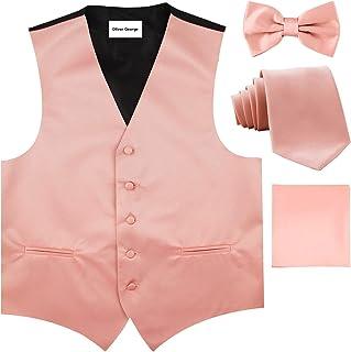 4pc Solid Vest Set, Necktie, Bow-Tie, Handkerchief Set