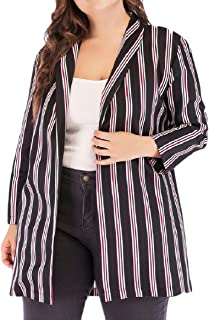 XINHEO Womens Plus-Size Custom Fit Striped Chiffon Blazer Suit Coat Jacket