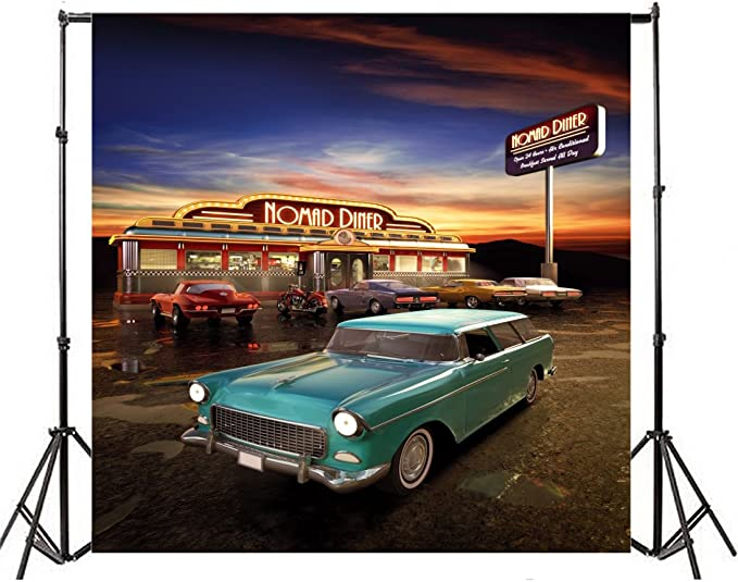 Vintage 15x10 FT Vinyl Photo Backdrops,Hand Drawn Old School Car Parked in Front of a Nostalgic Cafe Retro Illustration Background for Child Baby Shower Photo Studio Prop Photobooth Photoshoot