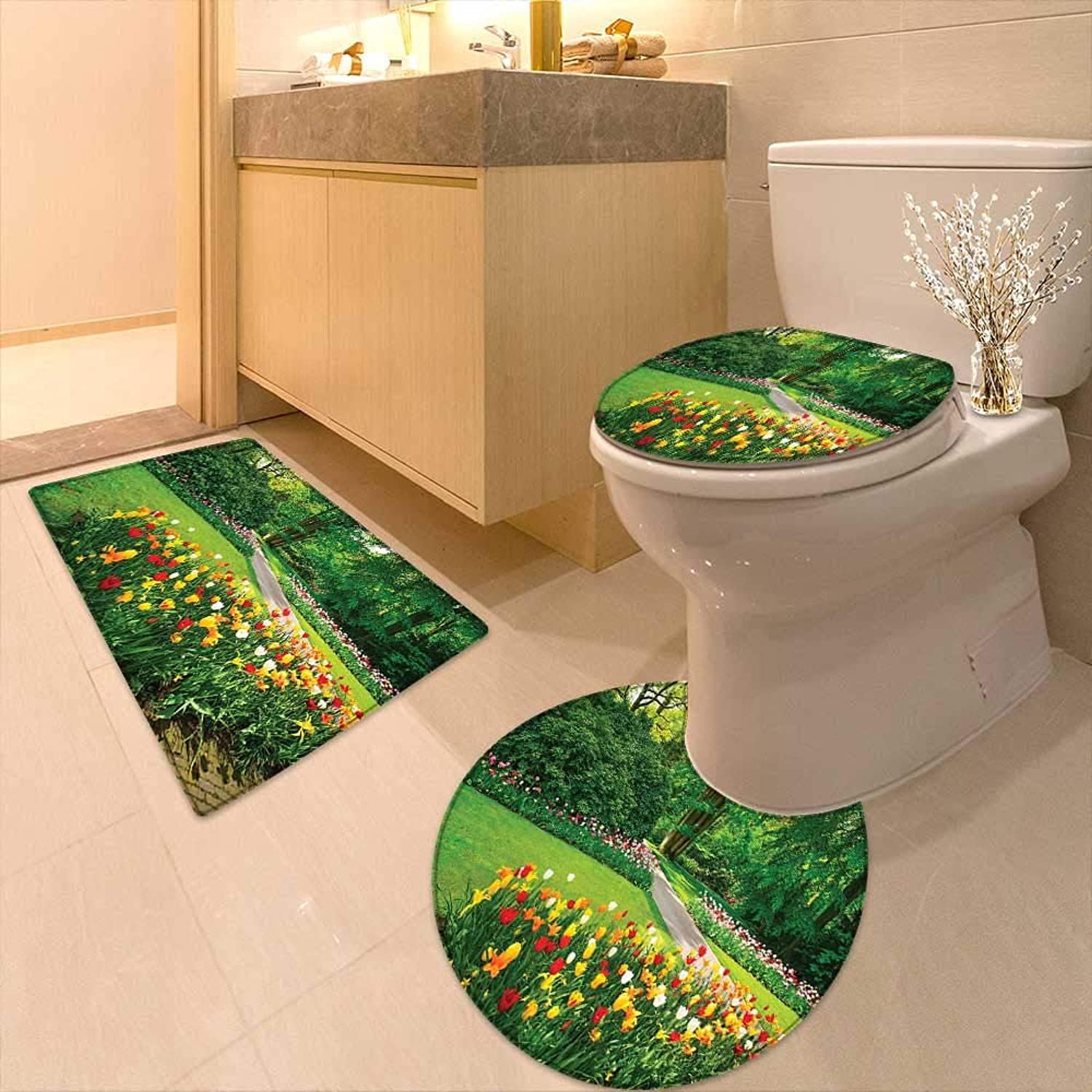 Printsonne U-Shaped Toilet Mat with Tulip Flowers and Trees Springtime in KeukenhofNetherlands Europe Green Red Washable Non-Slip