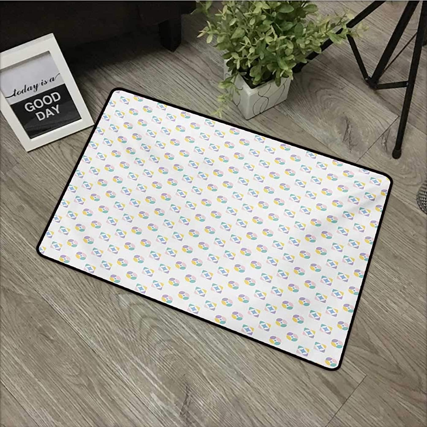 Square Door mat W24 x L35 INCH Modern,Abstract Geometric Icons Soft Toned Kaleidoscope Forms Motif Design,Lavender Pink Blue Yellow Non-Slip, with Non-Slip Backing,Non-Slip Door Mat Carpet