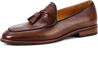 [WEWIN] タッセルローファー メンズ ビジネスシューズ 本革 革靴 モカシン スリッポン ドライビング 結婚式 カジュアル Uチップ 黒 防滑 紳士靴