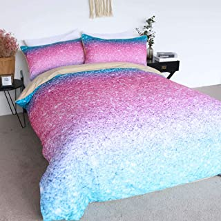 BlessLiving Pink Glitter Bedding 100% Cotton Sparkle Duvet Cover Set 3 Pieces Girly Turquoise Blue and Pink Cute Bedspreads (Twin)