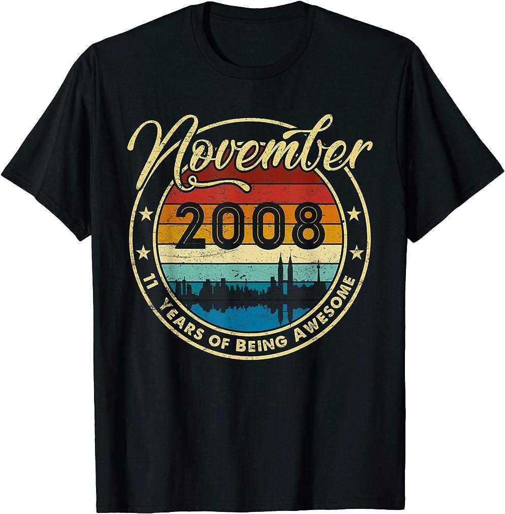 Classic November 2008 11 Years Old 11th Birthday Gift T-shirt
