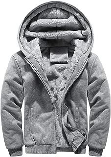 MAGCOMSEN Men's Winter Thicken Fleece Jacket Baseball Hooded Full Zip Sweatshirt Jackets Varsity Jackets with Pockets