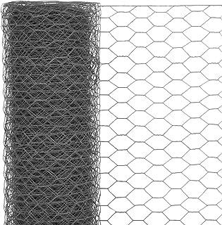 Stahl mit PVC-Beschichtung Grau Balkon und Kleintiere Festnight- 25x0,5 m Maschendraht 6-Eck Drahtgeflecht Drahtgitter Drahtzaun Wildzaun f/ür Garten
