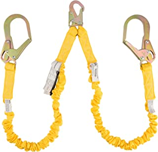 WELKFORDER Double Leg 6-Foot Fall Protection Internal Shock Absorbing Stretchable Safety Lanyard with Snap & Rebar Hook Connectors ANSI Complaint