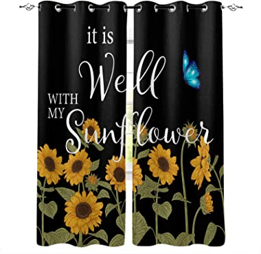 OneHoney Rustic Art Farm Sunflowers with Butterfly Blackout Window Curtains for Living Room Bedroom, Grommet Thermal Insulate