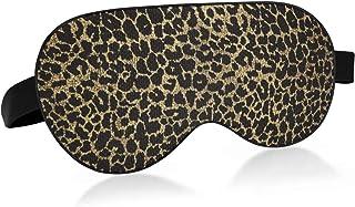 ALAZA Metallic Golden Leopard Print Cheetah Sleep Mask for Women Men Blackout Cooling Funny Eye Mask for Sleeping with Ela...