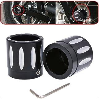 TUINCYN Schwarz CNC Deep Edge Motorrad Vorderachsabdeckung Hutmutter Schraubensatz für Harley Dyna V Rod Touring Sportster XL883 XL1200 (1 Satz)