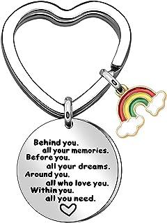 Regenboog sleutelhanger inspirerende sleutelhangers roestvrij staal aanmoediging sleutelhanger achter u al uw herinneringe...