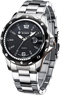 Mens Watches Chronograph Black Stainless Steel Waterproof...