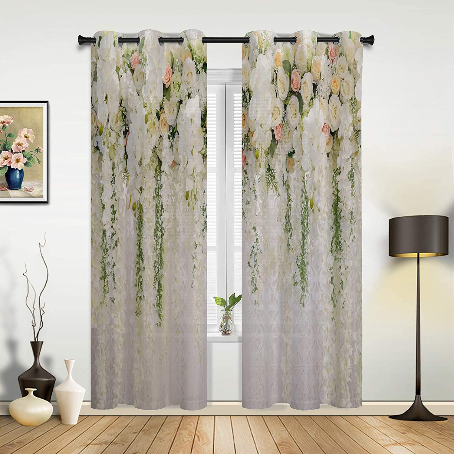 Easy-to-use Window Sheer Curtains for Rapid rise Bedroom Living White Romantic Ros Room