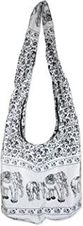 Hippie Elephant Sling Crossbody Bag Shoulder Bag Purse Thai Top Zip Handmade New Color White 01