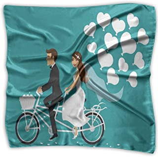 Bandana Head and Neck Tie Neckerchief,Man And Woman On A Tandem Bicycle With Heart Balloons Cartoon
