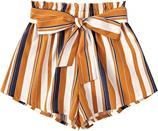 Women's Casual Elastic Waist Striped Summer Beach Shorts...