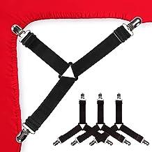 Bed Sheet Holder Corner Straps - 4 pcs Black, Mattress Cover Clips to Hold Sheets in Place, Adjustable Bed Bands, Elastic ...