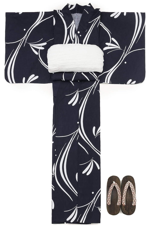 (ソウビエン) 浴衣 セット レディース 紺色 白 とんぼ トンボ 蜻蛉 立涌 流水 綿 レトロモダン 兵児帯 マクレ ボヌールセゾン