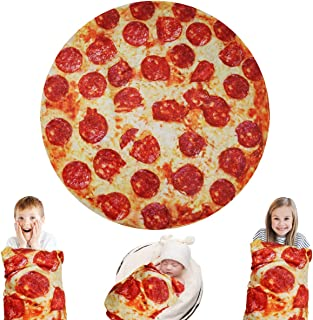 Lhedon Giant Pizza Blanket Kids 60 Inch,Plush Wrap Blanket Throw,Realistic FoodFlannel Pet BlanketTowel,Gift for Teens B...