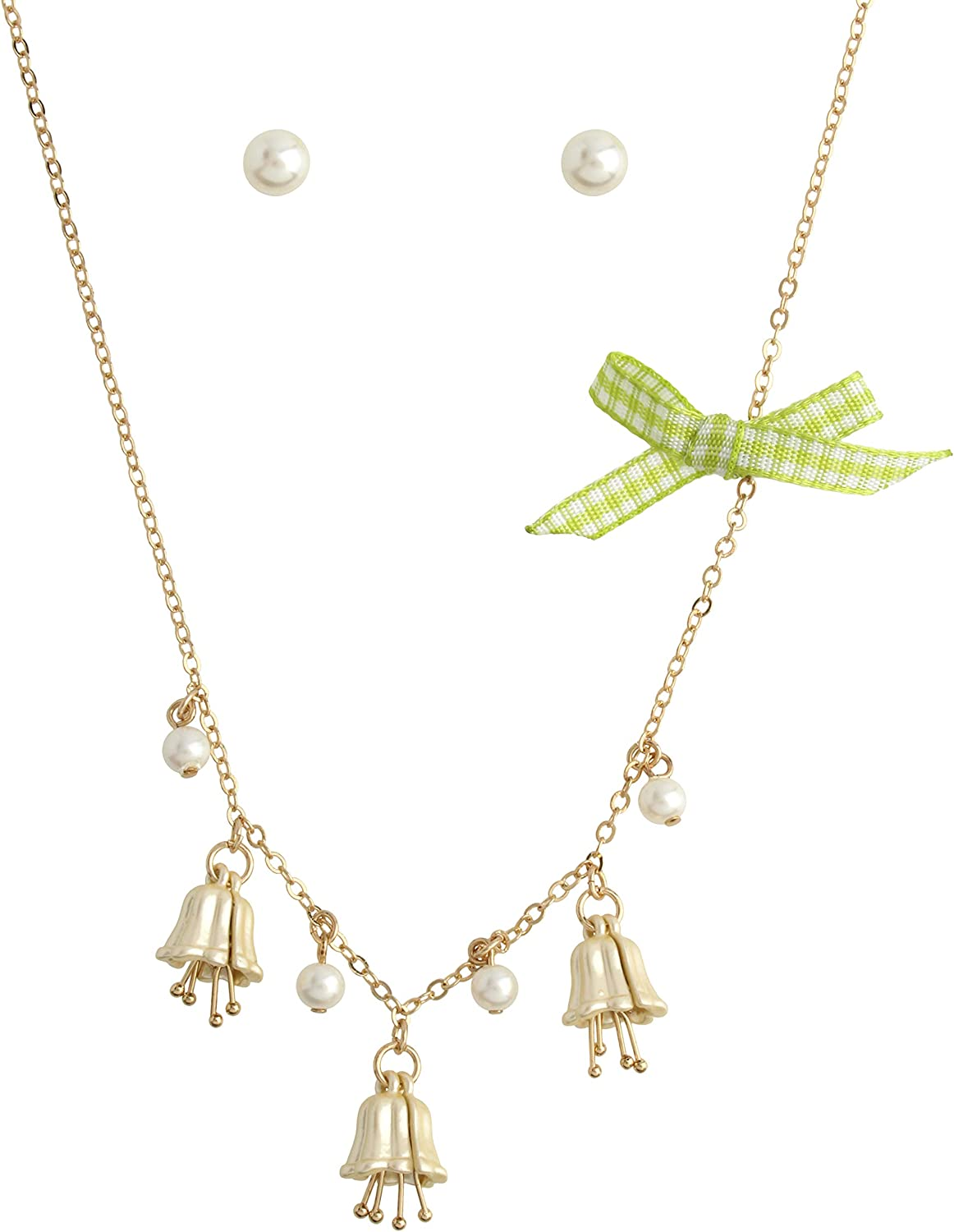 Betsey Johnson Lily Flower Charm Necklace & Pearl Stud Earrings Set