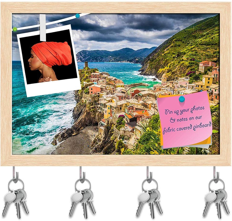 Artzfolio Beautiful Fisherman Village of Cinque Terre,  Key Holder Hooks   Notice Pin Board   Natural Brown Frame 14.2 X 10Inch