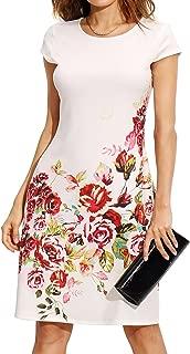 Women's Floral Print Short Sleeve Casual Work Office A Line Dress