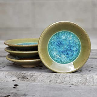 Geode Ring Dish in Jade, Individual Geode Ring Dish, Fused Glass Dish, Trinket Dish, Soap Dish, Crackle Glass, Candle Holder, Dock 6 Pottery, Kerry Brooks Pottery