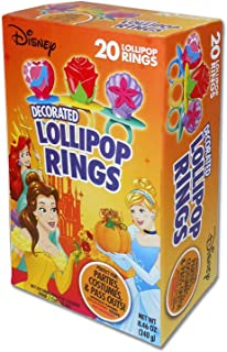 Flix Candy (1) Box 20pc Decorated Lollipop Rings - Candy in Disney Princess Inspired Shapes - Perfect for Halloween Parties & Costumes! - Strawberry, Grape & Watermelon Flavors