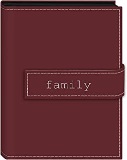 """Pioneer Photo Albums 36-Pocket 5 by 7-Inch Embroidered""""Family"""" Strap Sewn Leatherette Cover Photo Album, Mini, Burgundy"""